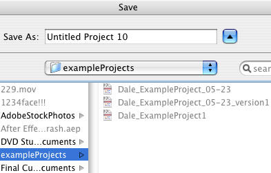 Save Dialog in Final Cut Pro